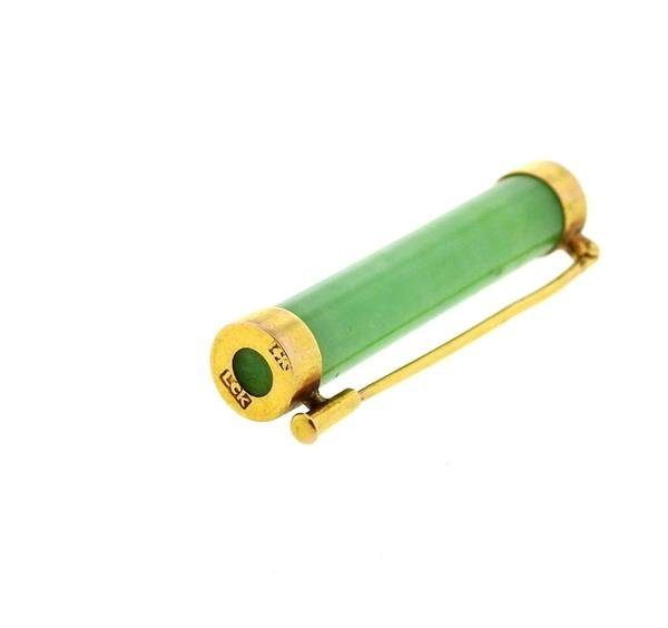 14k Gold Jade Bar Brooch Pin - 3
