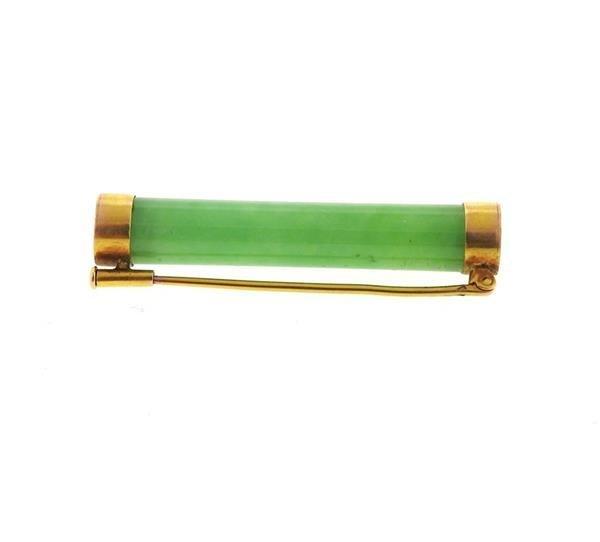 14k Gold Jade Bar Brooch Pin - 4