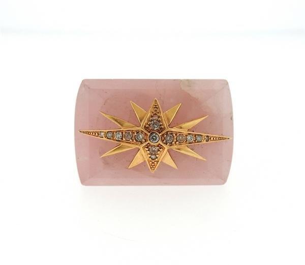 Bochic 18k Gold Rose Quartz Diamond Ring