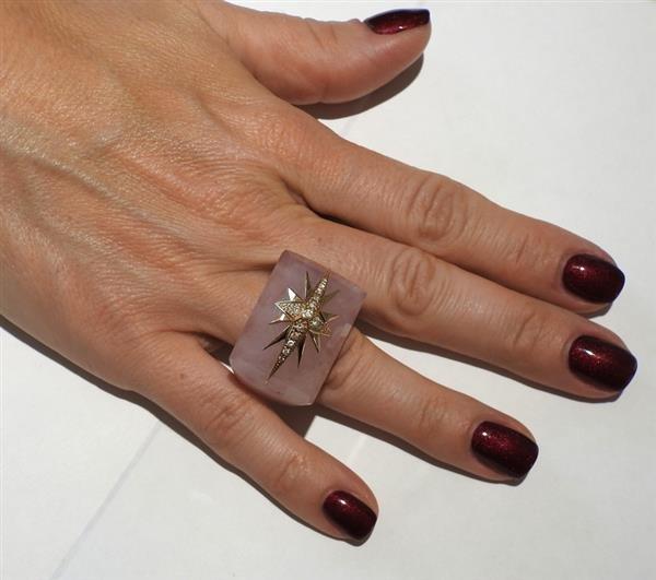Bochic 18k Gold Rose Quartz Diamond Ring - 3
