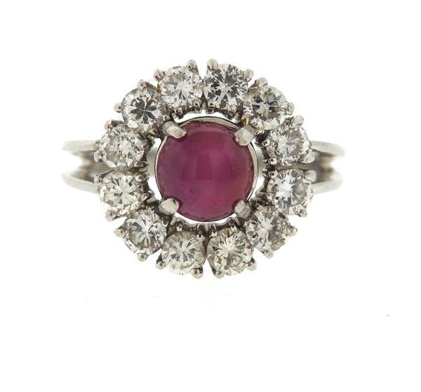 Platinum 3ct Star Ruby 1.50ctw Diamond Ring