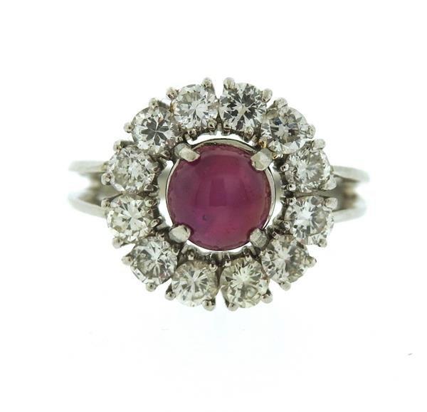 Platinum 3ct Star Ruby 1.50ctw Diamond Ring - 2