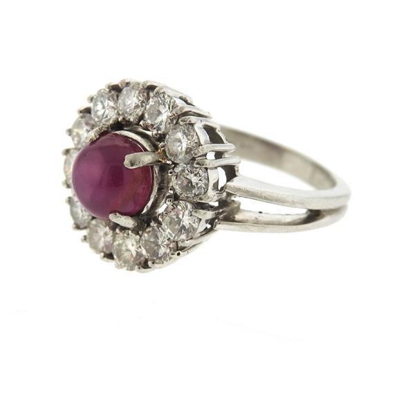 Platinum 3ct Star Ruby 1.50ctw Diamond Ring - 3
