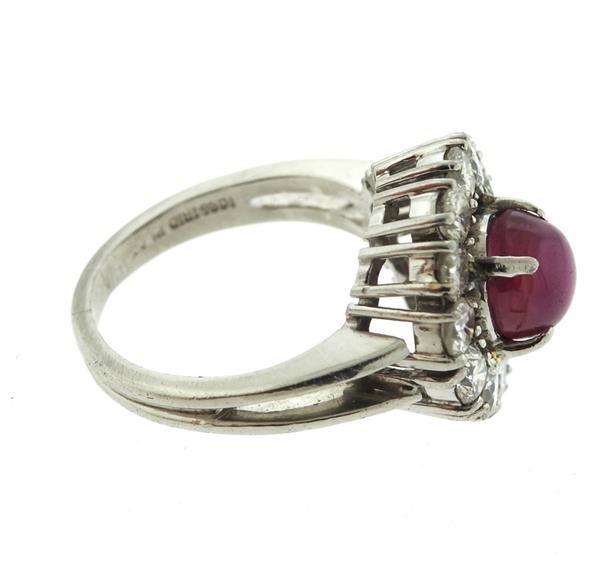 Platinum 3ct Star Ruby 1.50ctw Diamond Ring - 5