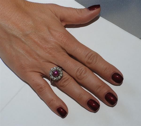 Platinum 3ct Star Ruby 1.50ctw Diamond Ring - 6