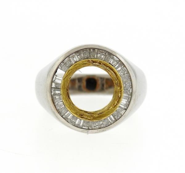 Platinum 18K Gold 2.00ctw Diamond Ring Mounting