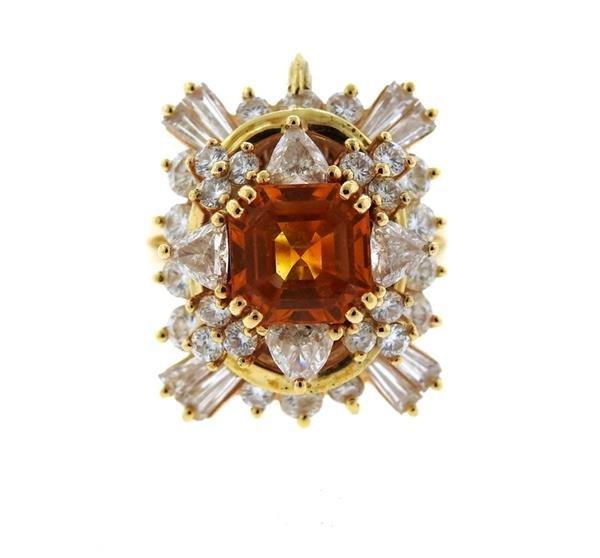Asscher Cut 4.5ct Orange Sapphire 2.25ctw Diamond 18k
