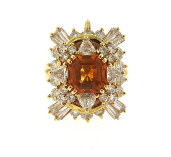 Asscher Cut 4.5ct Orange Sapphire 2.25ctw Diamond 18k - 2