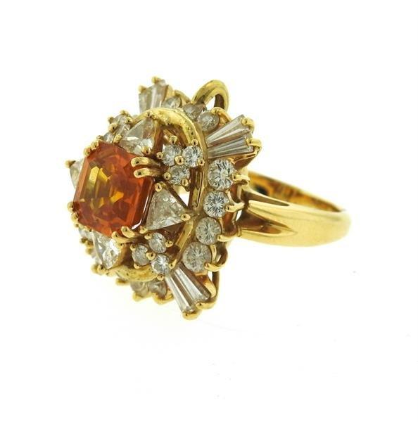Asscher Cut 4.5ct Orange Sapphire 2.25ctw Diamond 18k - 3