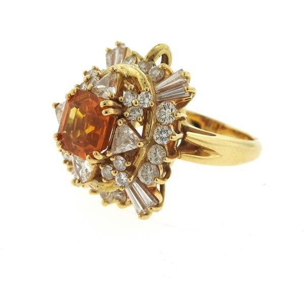 Asscher Cut 4.5ct Orange Sapphire 2.25ctw Diamond 18k - 4