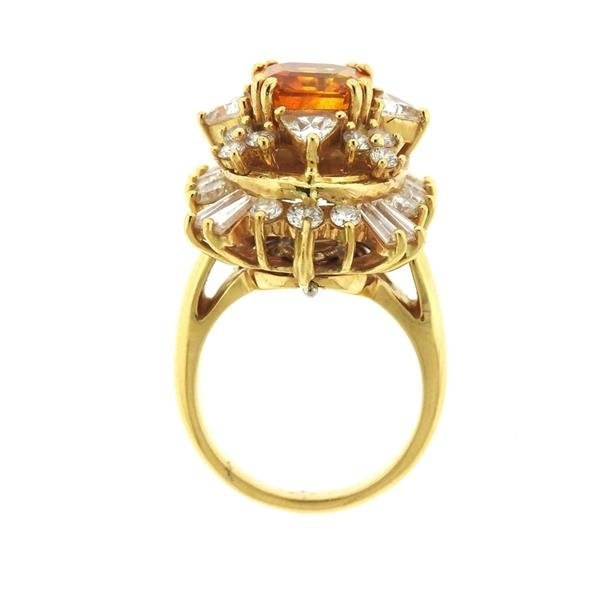 Asscher Cut 4.5ct Orange Sapphire 2.25ctw Diamond 18k - 7