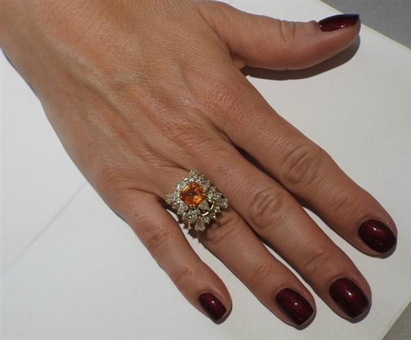 Asscher Cut 4.5ct Orange Sapphire 2.25ctw Diamond 18k - 8