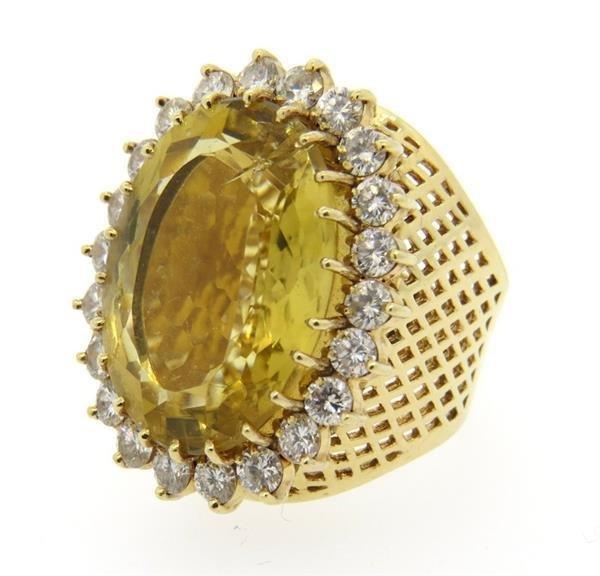 Huge 14k Gold 3.00ctw Diamond Citrine Ring