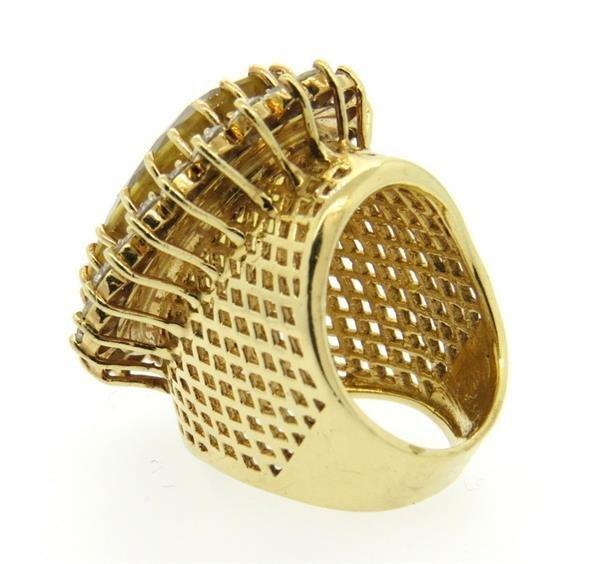 Huge 14k Gold 3.00ctw Diamond Citrine Ring - 4