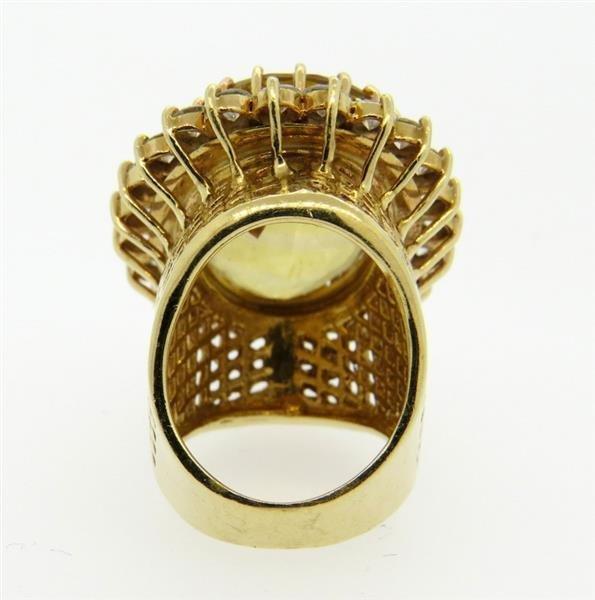 Huge 14k Gold 3.00ctw Diamond Citrine Ring - 5