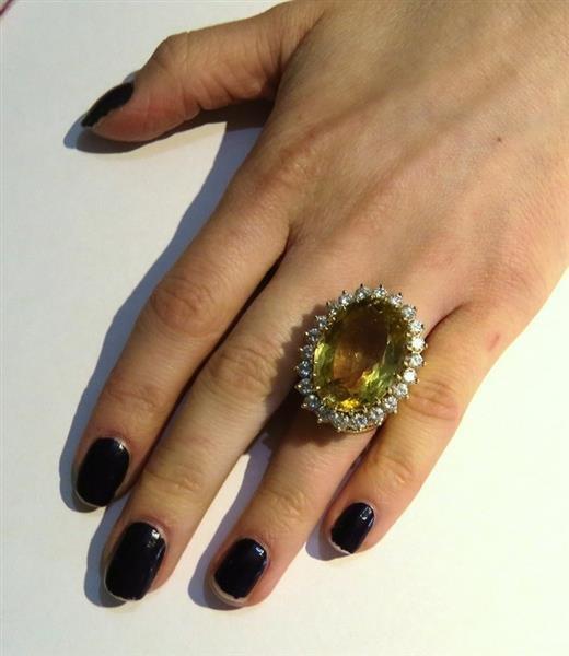 Huge 14k Gold 3.00ctw Diamond Citrine Ring - 6