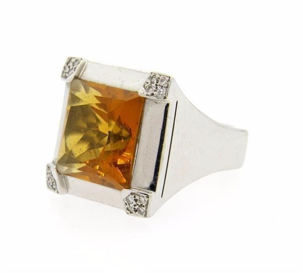 18K Gold Citrine Diamond Cocktail Ring