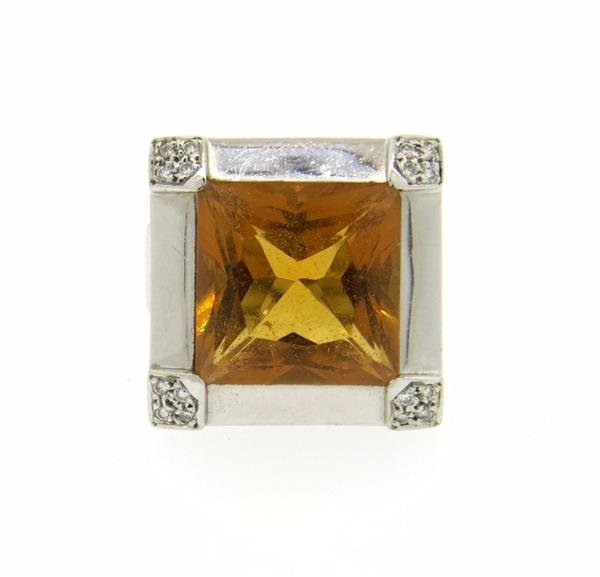 18K Gold Citrine Diamond Cocktail Ring - 2