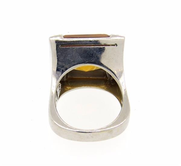 18K Gold Citrine Diamond Cocktail Ring - 3