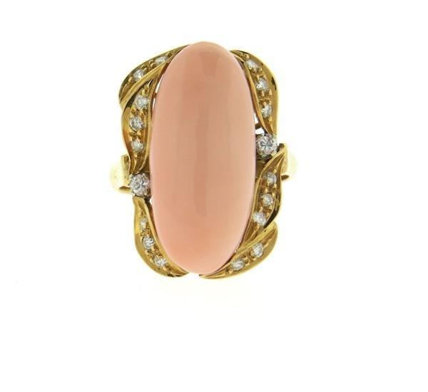 Vintage 18k Gold Angel Skin Coral Diamond Ring