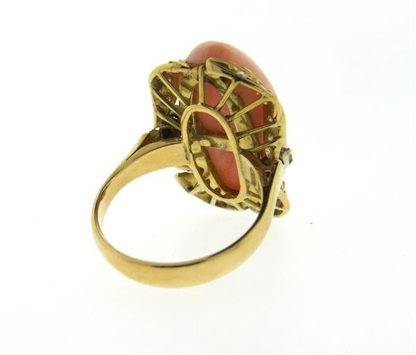 Vintage 18k Gold Angel Skin Coral Diamond Ring - 3