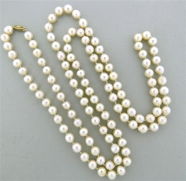 Vintage 14k Gold 8.5mm to 9mm Pearl Long Necklace
