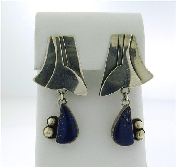 Anne Forbes Sterling Silver Lapis Drop Earrings