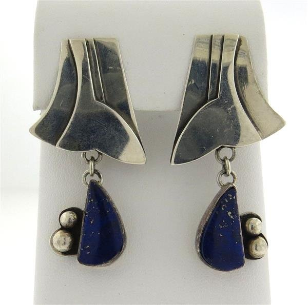 Anne Forbes Sterling Silver Lapis Drop Earrings - 2