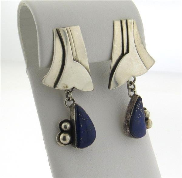 Anne Forbes Sterling Silver Lapis Drop Earrings - 3