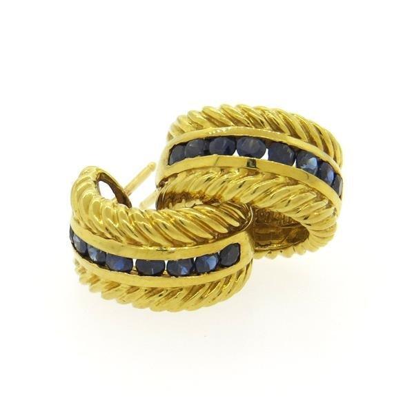 David Yurman Thoroughbred 18K Gold Sapphire Hoop