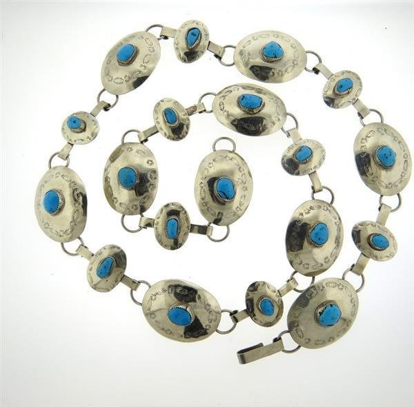 Native American All Sterling Turquoise Belt