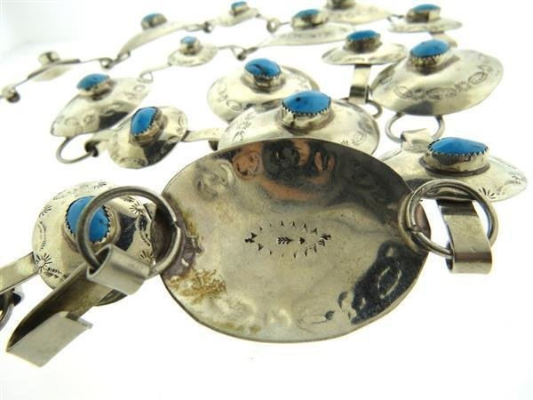 Native American All Sterling Turquoise Belt - 4