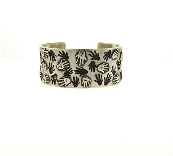 Native American Sterling Hand Print Cuff Bracelet