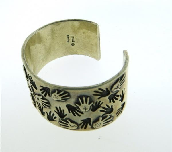 Native American Sterling Hand Print Cuff Bracelet - 2