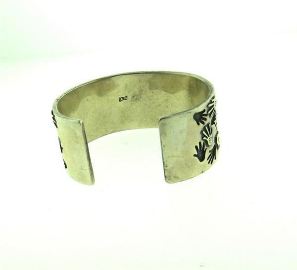 Native American Sterling Hand Print Cuff Bracelet - 4