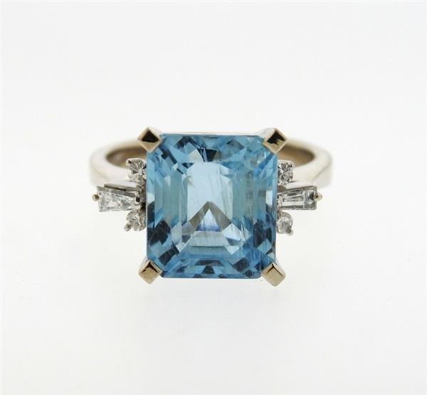 14K Gold 8.5ct Aquamarine Diamond Ring