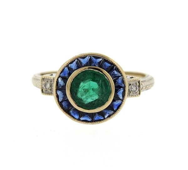 Art Deco Filigree 18K Gold Emerald Sapphire Diamond