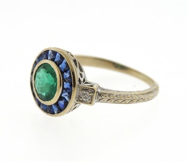 Art Deco Filigree 18K Gold Emerald Sapphire Diamond - 2