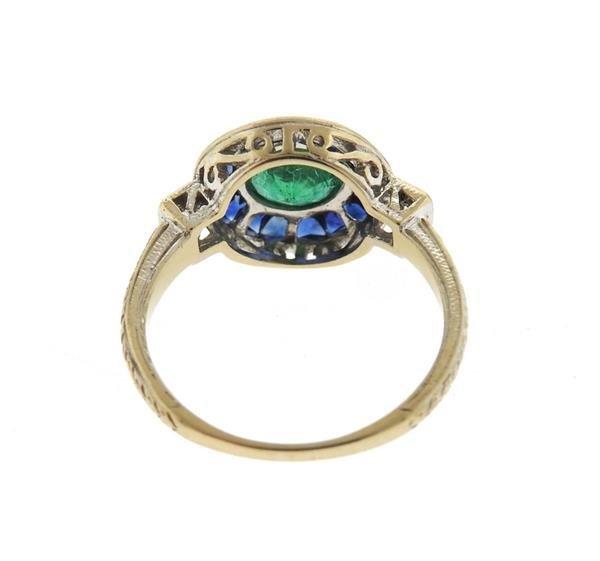Art Deco Filigree 18K Gold Emerald Sapphire Diamond - 3
