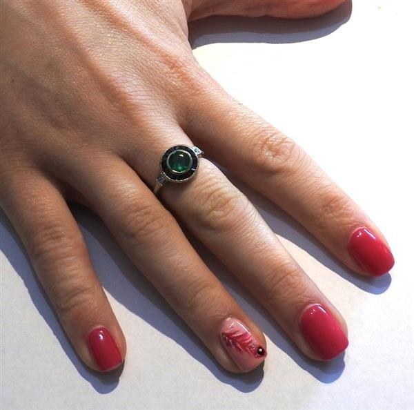 Art Deco Filigree 18K Gold Emerald Sapphire Diamond - 4