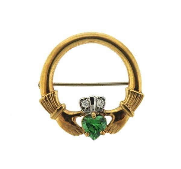 English 9K Gold Green Stone Claddagh Brooch Pin