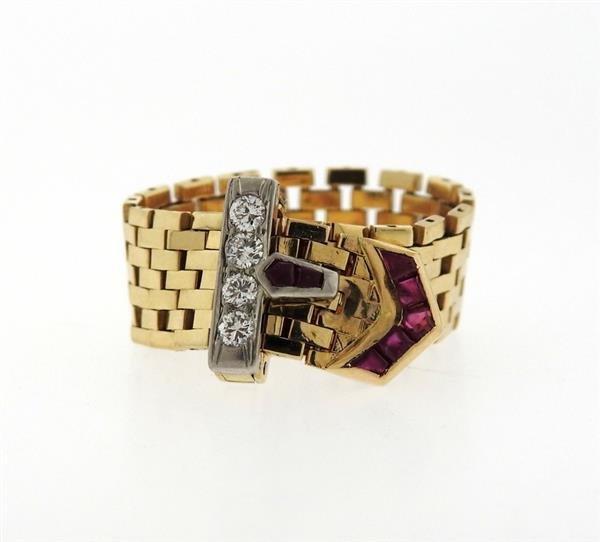 Mid Century 14K Gold Ruby Diamond Buckle Ring