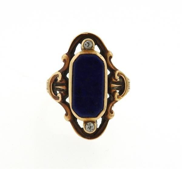Antique Art Nouveau 14k Gold Lapis Diamond Ring