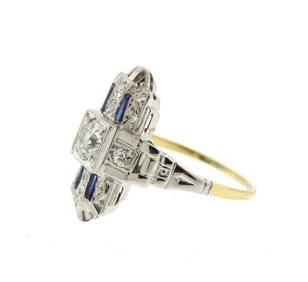 Art Deco 14k Gold Diamond Sapphire Ring - 2