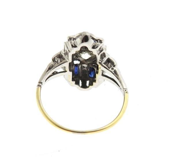 Art Deco 14k Gold Diamond Sapphire Ring - 3