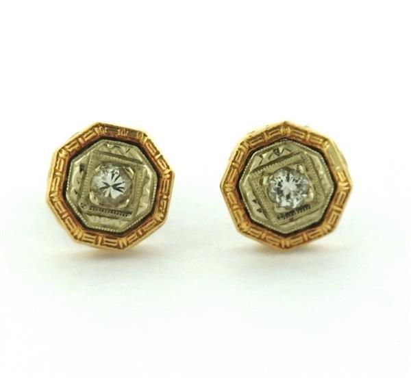 Antique Art Deco 14K Gold Diamond  Stud Earrings