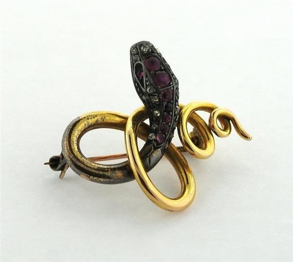 Antique 18K Gold Diamond Ruby Snake Brooch - 2