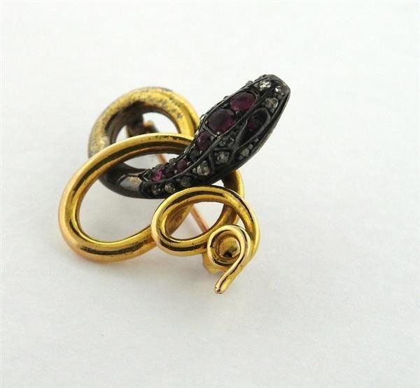 Antique 18K Gold Diamond Ruby Snake Brooch - 3