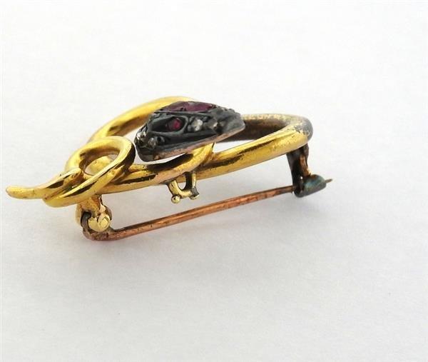 Antique 18K Gold Diamond Ruby Snake Brooch - 4