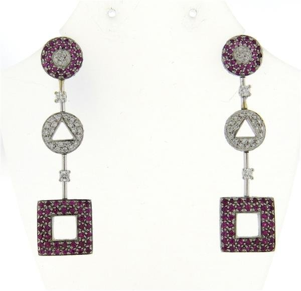 18k Gold Pink Sapphire Diamond Earrings